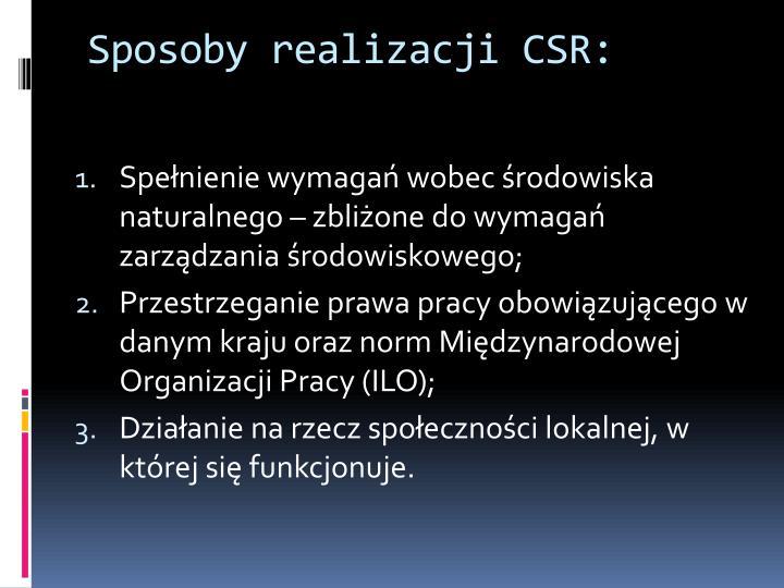 Sposoby realizacji CSR: