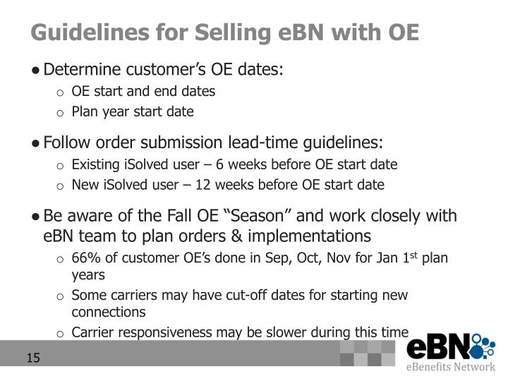 Guidelines for Selling eBN with OE