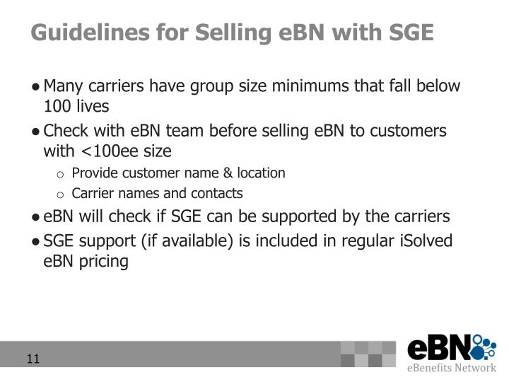 Guidelines for Selling eBN with SGE