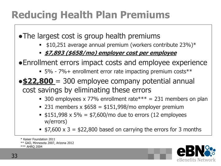 Reducing Health Plan Premiums