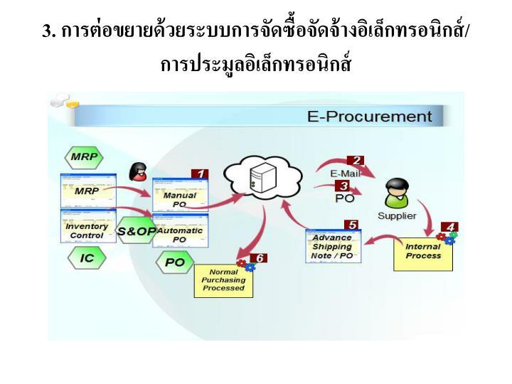 3. การต่อขยายด้วยระบบการจัดซื้อจัดจ้างอิเล็กทรอนิกส์/การประมูลอิเล็กทรอนิกส์