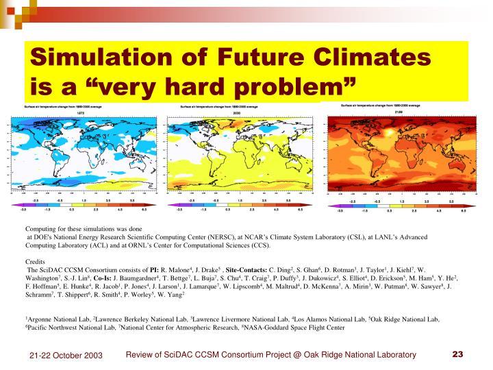 Simulation of Future Climates