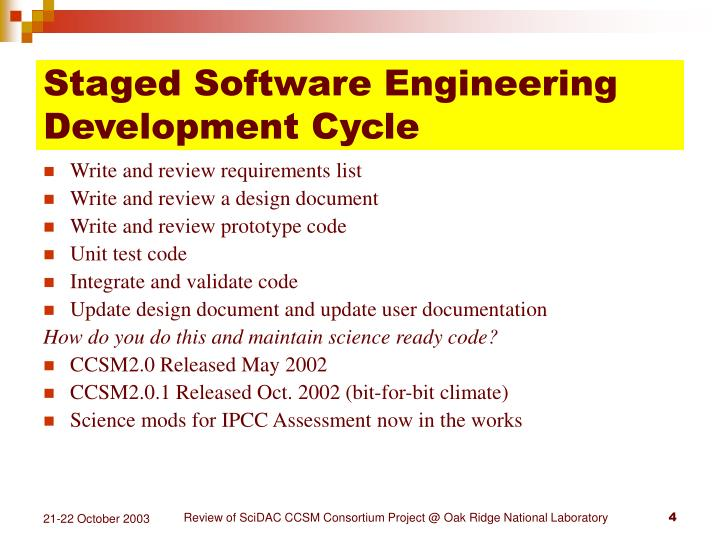Staged Software Engineering Development Cycle