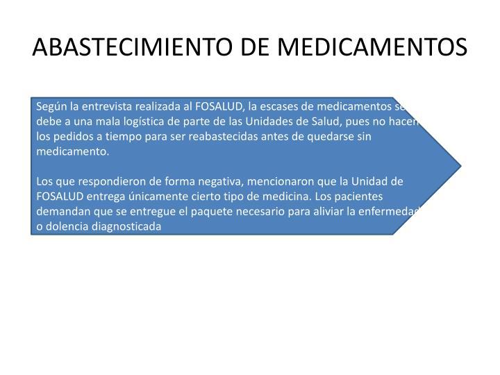 ABASTECIMIENTO DE MEDICAMENTOS