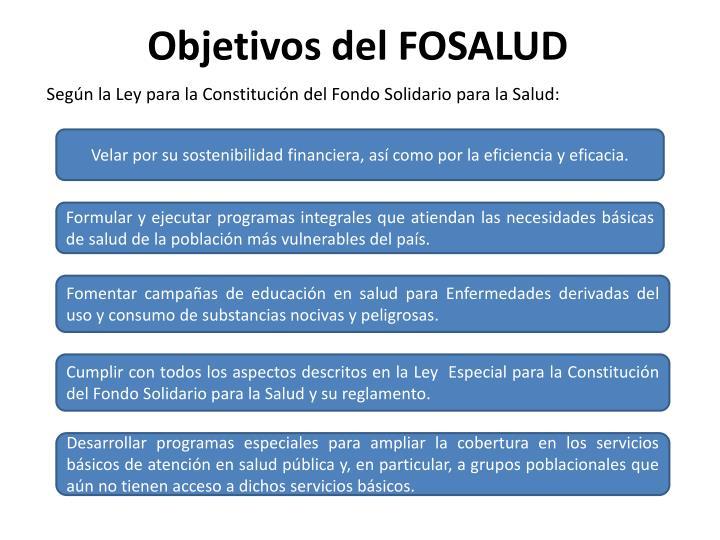 Objetivos del FOSALUD