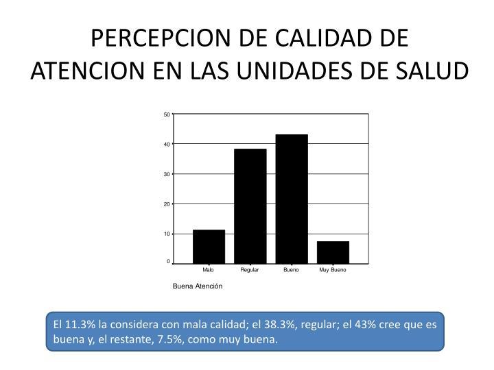 PERCEPCION DE CALIDAD DE ATENCION EN LAS UNIDADES DE SALUD