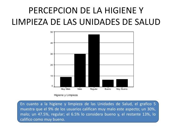 PERCEPCION DE LA HIGIENE Y LIMPIEZA DE LAS UNIDADES DE SALUD
