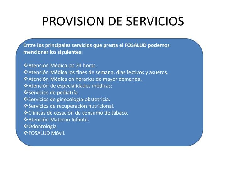 PROVISION DE SERVICIOS