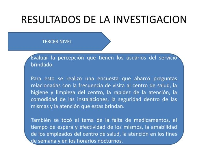 RESULTADOS DE LA INVESTIGACION