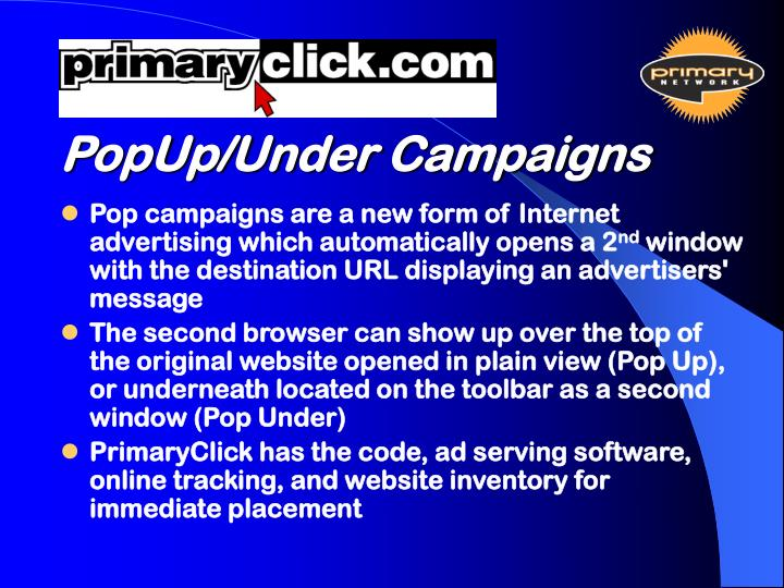 PopUp/Under Campaigns