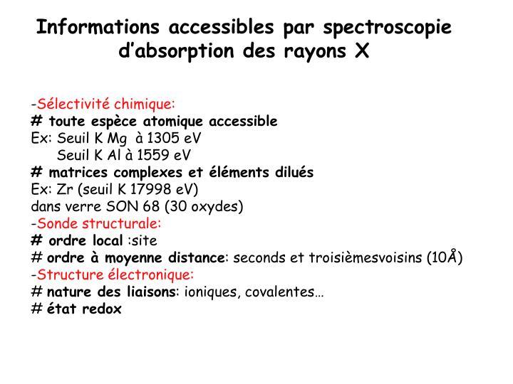 Informations accessibles par spectroscopie