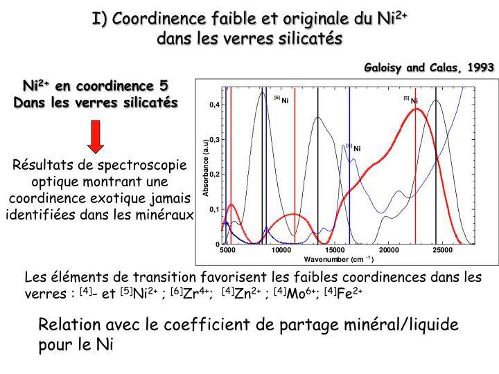 I) Coordinence faible et originale du Ni