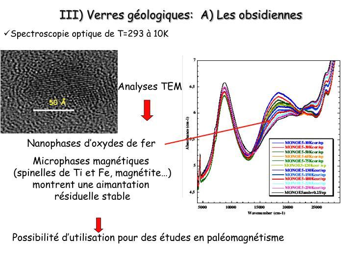 III) Verres géologiques:  A) Les obsidiennes