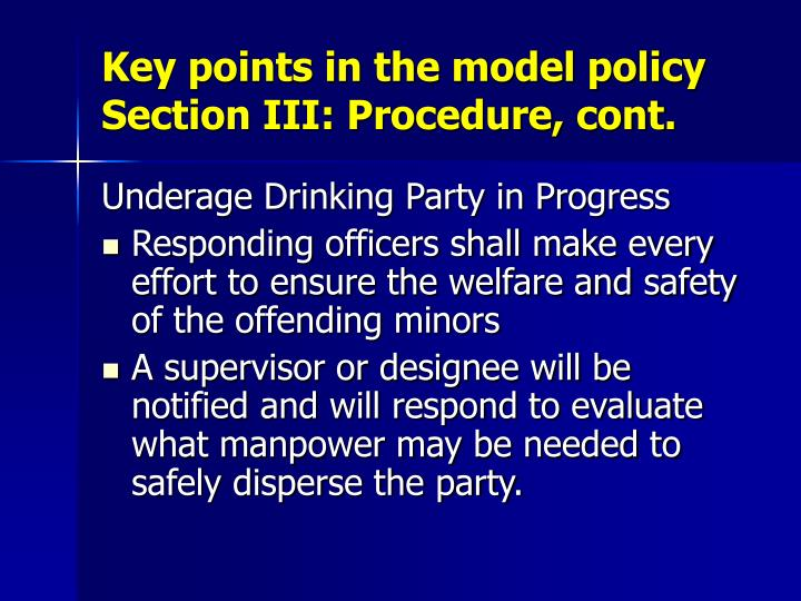 Key points in the model policy