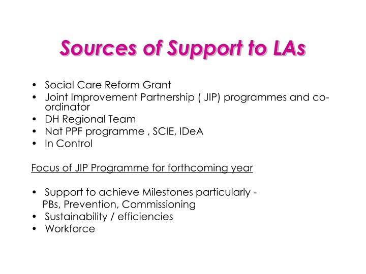 Sources of Support to LAs
