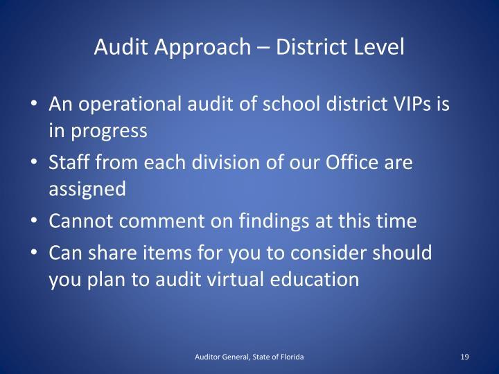 Audit Approach – District Level