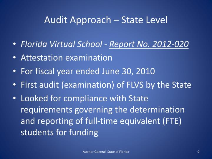 Audit Approach – State Level