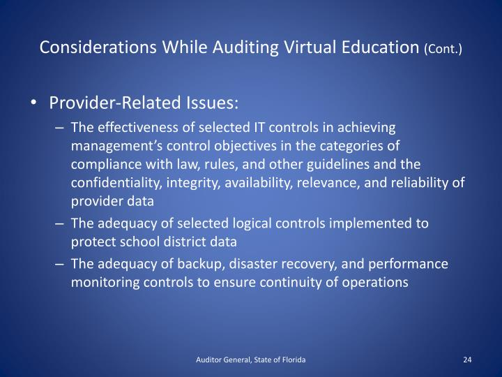 Considerations While Auditing Virtual Education