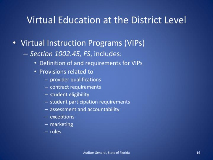 Virtual Education at the District Level