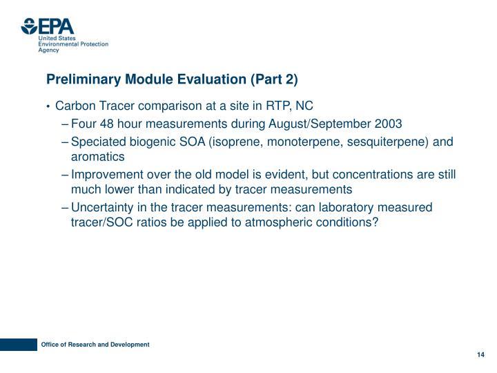 Preliminary Module Evaluation (Part 2)