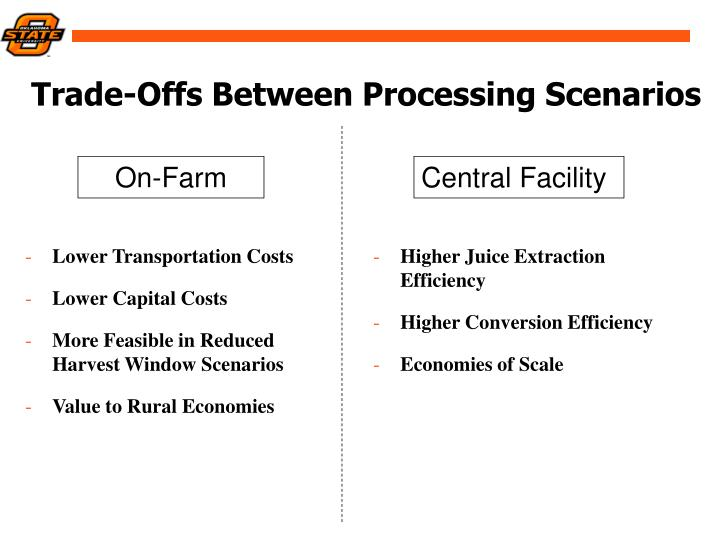 Trade-Offs Between Processing Scenarios
