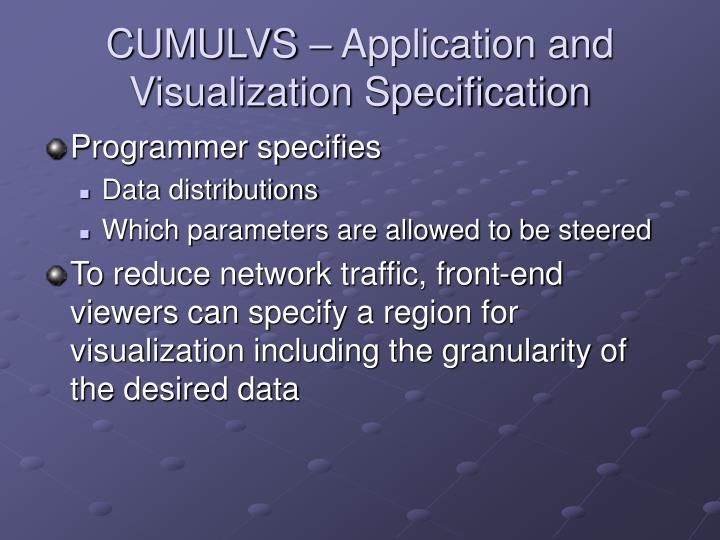 CUMULVS – Application and Visualization Specification