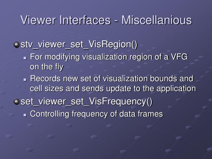 Viewer Interfaces - Miscellanious