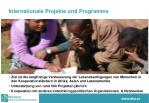 internationale projekte und programme