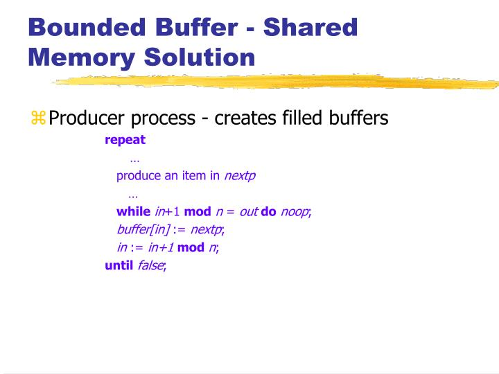 Bounded Buffer - Shared Memory Solution