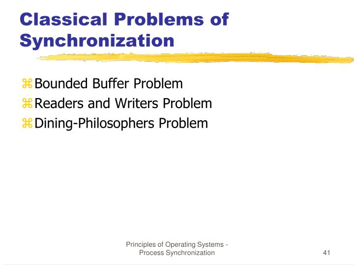 Classical Problems of Synchronization