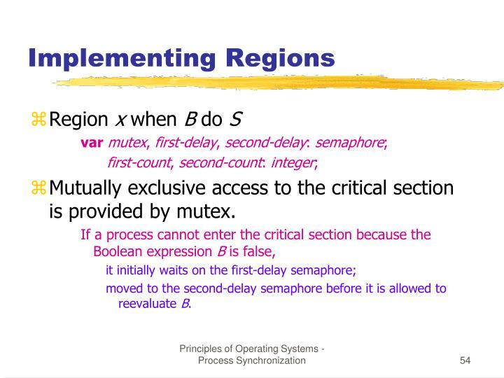 Implementing Regions