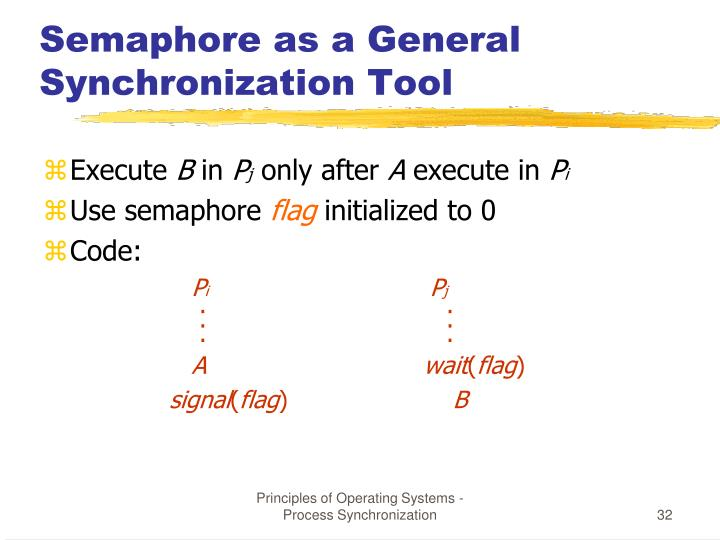Semaphore as a General Synchronization Tool