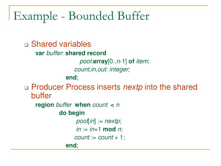 Example - Bounded Buffer