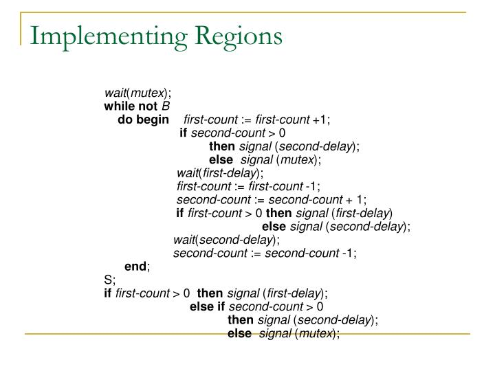 Implementing Regions