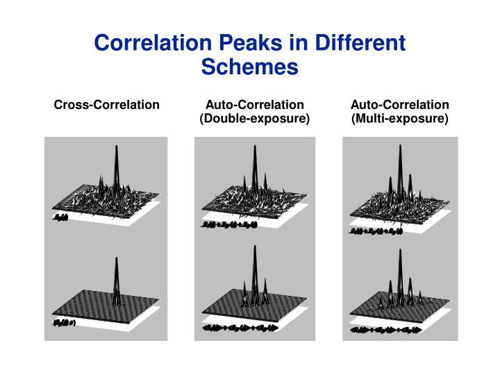 Correlation Peaks in Different Schemes