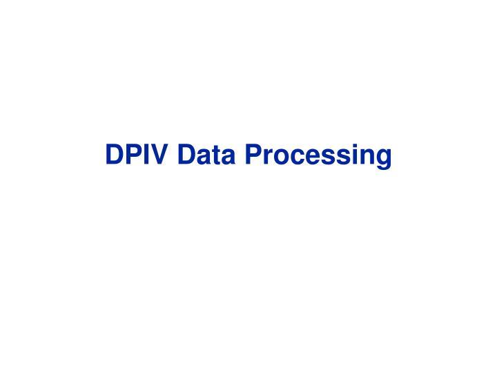DPIV Data Processing