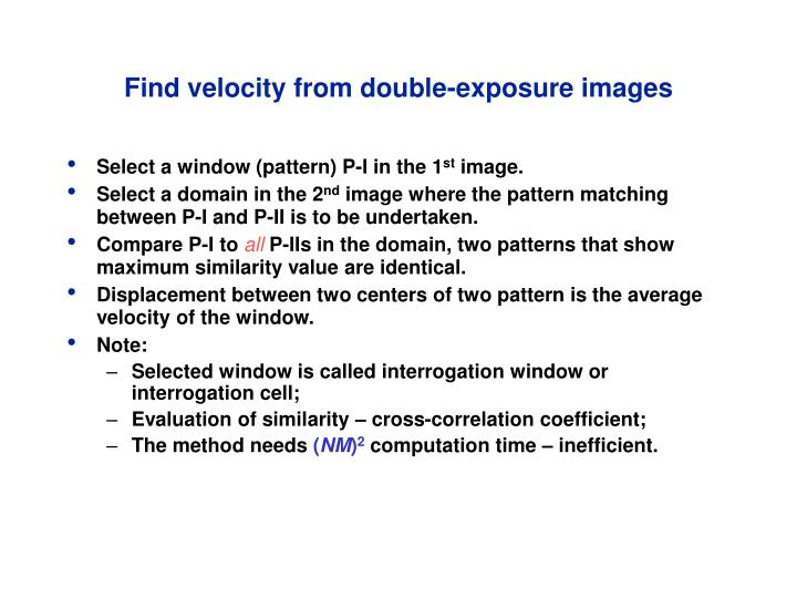 Find velocity from double-exposure images