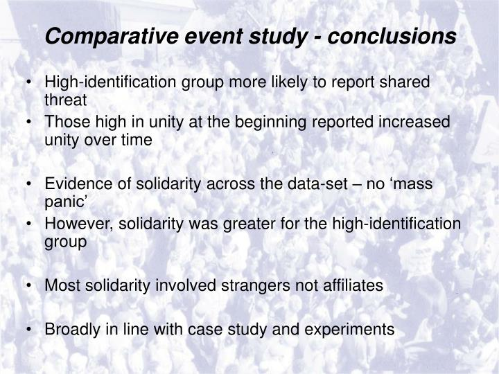 Comparative event study - conclusions