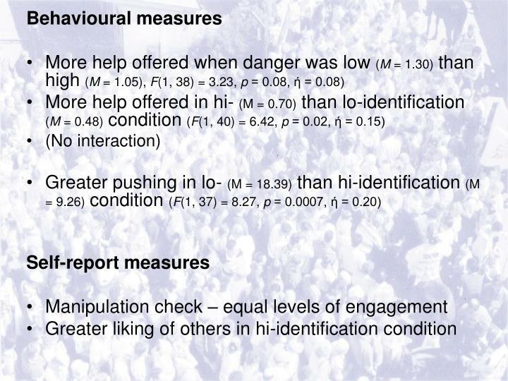 Behavioural measures