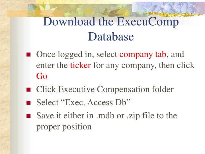 Download the ExecuComp Database