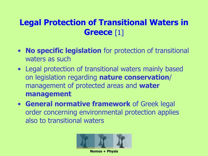 Legal protection of transitional waters in greece 1