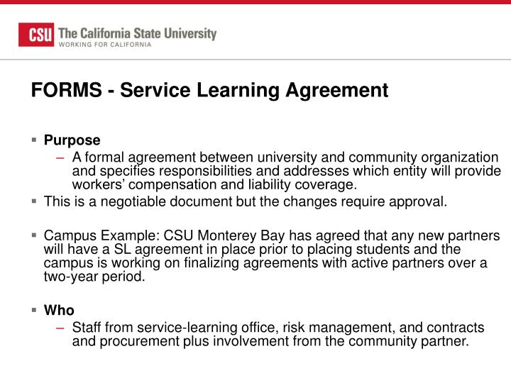 FORMS - Service Learning Agreement