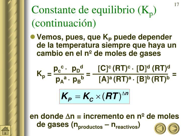Constante de equilibrio (K