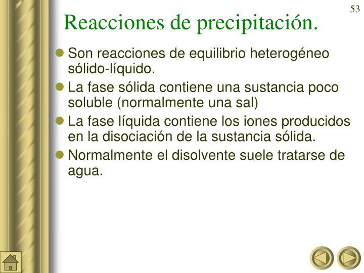 Reacciones de precipitación.