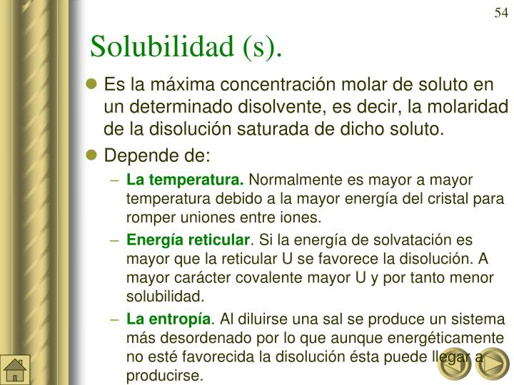Solubilidad (s).