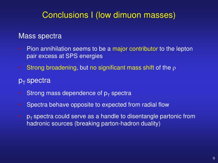 Conclusions I (low dimuon masses)