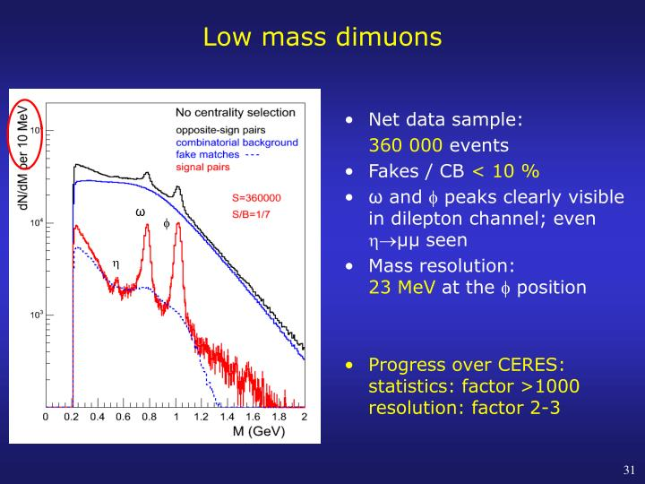 Low mass dimuons