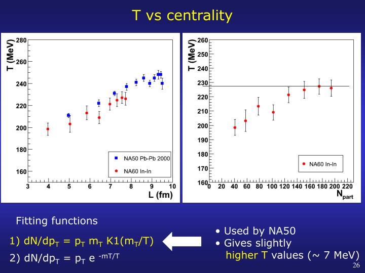 T vs centrality
