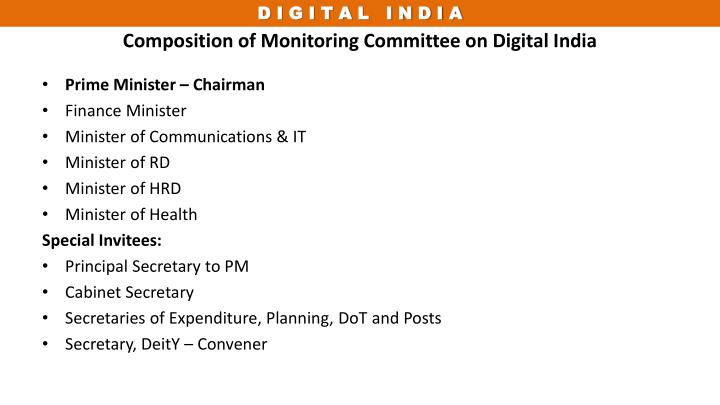 Composition of Monitoring Committee on Digital India