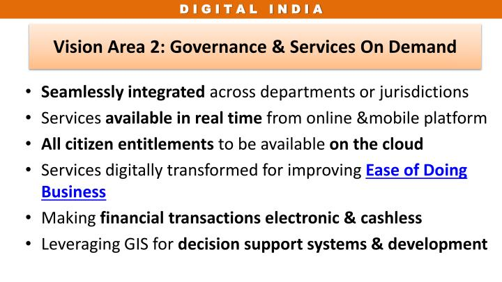 Vision Area 2: Governance & Services On Demand